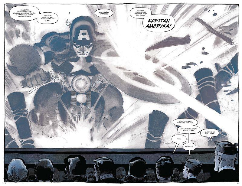 Kadr komiksu Kapitan Ameryka: Biały